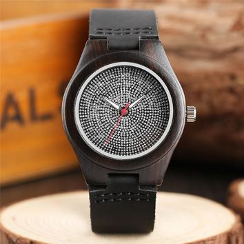 Bamboo Minimalist Crystal Dial Wooden Wrist Watch Trendy Women Genuine Leather Band Strap Creative Handmade Watches For Girl