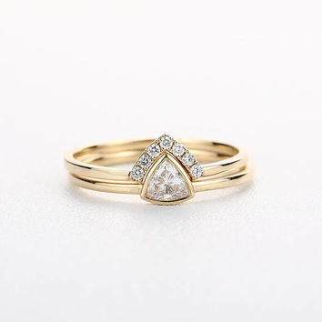 Bridal Set Antique Unique Engagement Ring 14K Gold Wedding Women Stacking Art Deco Trillion Diamond Curved Promise Anniversary Gift For Her