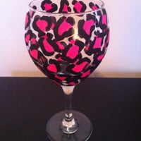Leopard wine glass, pink