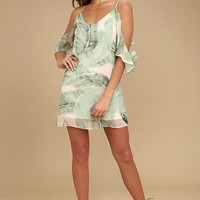 Radiate Positivity Sage Green Print Off-the-Shoulder Dress