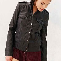 BDG Vegan Leather Trucker Jacket- Black