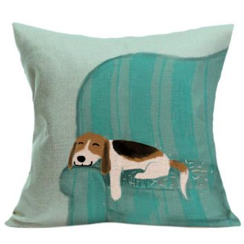 Vintage Cute Dog Pillow Sofa Throw Cushion With Various  Stamping