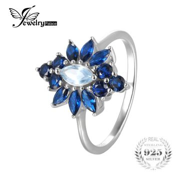 JewelryPalace Luxury 2.5ct Marquise Created Blue Spinel Flower Ring 925 Sterling Silver Engagement Rings For Women Party Jewelry