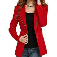 Women Elegant Office Blazer Zipper Suit