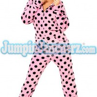 Black Polka Dots - Hooded Footed Pajamas - Pajamas Footie PJs Onesuits One Piece Adult Pajamas - JumpinJammerz.com