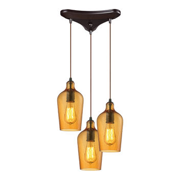 ELK Hammered Glass Collection 3 light chandelier in Oil Rubbed Bronze - 10331/3HAMB