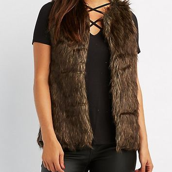 Leather-Trim Faux Fur Vest