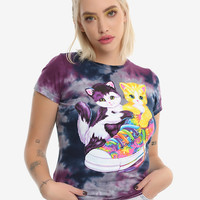 Lisa Frank Kitties & Shoe Tie Dye Girls T-Shirt