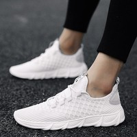 Fashionable flying weave men's shoes breathable fish-scale mesh upper tide shoes knife edge sole sports casual shoes running shoes