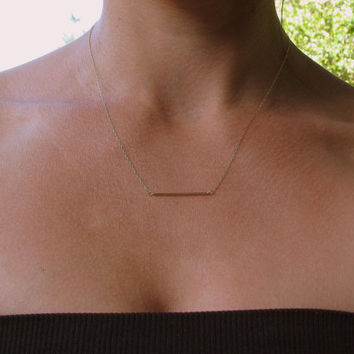 Minimal 14K Gold Bar Necklace, Thin Gold Bar, Garnet, Simple, Subtle Dainty Gold Bar Necklace