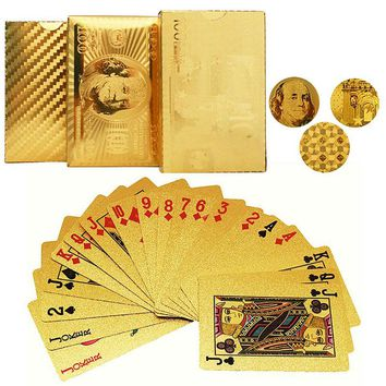 Durable Waterproo Gold Foil Poker Golden Poker Cards 24K Gold-Foil Plated Playing Cards for Poker Casino Table Games