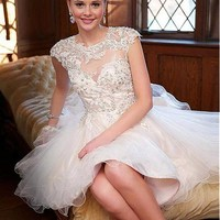 [93.99] Sweet Tulle Jewel Neckline Short Ball Gown Wedding Dresses With Lace Appliques - dressilyme.com