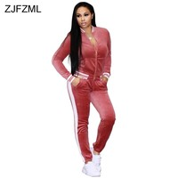 ZJFZML Autumn Winter Velvet Sexy Two Piece Set Women V-Neck Long Sleeve Zipper Coat Casual Skinny Full Length Pant Sweatsuits