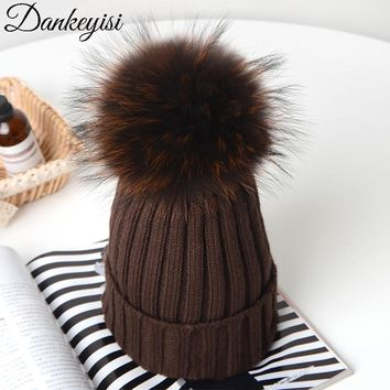 DANKEYISI Knitted Beanies Winter Hats Real Fox Fur Pom Poms Ball Hat Skullies Thick Female Cap Women Beanie girl 's wool hat
