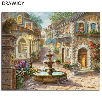 DRAWJOY Landscape Framed Pictures DIY Painting By Numbers Acrylic Painting On Canvas Wall Art For Home Decor 40x50