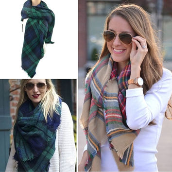 Women Mans Large Tartan Scarf Wrap Shawl Neck Stole Warm Plaid Pashmina Fashion = 1830109124