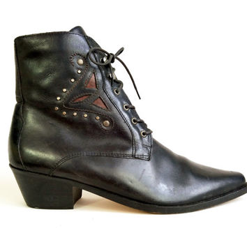 90s Shoes/ Vintage 1990s Leather Boots Pointy Toe Black Ankle Boots High Heel Booties Black Goth Witchy Granny Boots US Womens Size 8 1/2