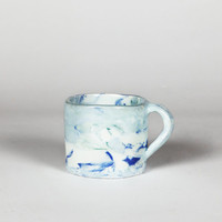 Blue and Green Marbled Porcelain Mug