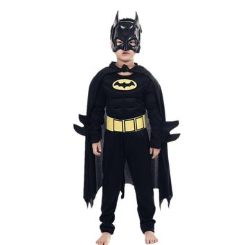 Kids Boys Muscle Batman Costumes with Mask Cloak Movie Character Superhero Cosplay Halloween Masquerade Party Superman Role Play