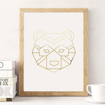 Bear Poster, Wall Decor, Minimal Art, Bear Print, Kids Room Decor, Illustration Print, Geometric Art Poster, Aztec Print, Gold Bear Poster