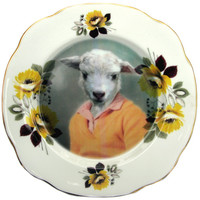 Shay the Sheep - Altered Vintage Plate 8""