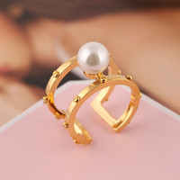 Shiny New Arrival Jewelry Stylish Gift Fashion Accessory White Pearls Gold Rivet Double-layered Hollow Out Ring [4989647044]