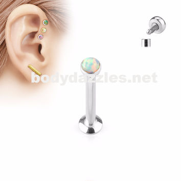 White Opal  Flat Top Internally Threaded Surgical Steel Labret Stud for Lip, Chin, Ear Cartilage Piercings