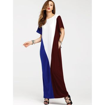 Cut And Sew Panel Full Length Dress With Pockets