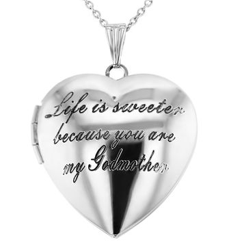 """Life is Sweeter Because You are My Godmother"" Heart Locket Necklace 19"""