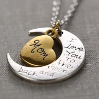 I Love You to the Moon and Back Necklace with Moon Heart Pendant (MOM)