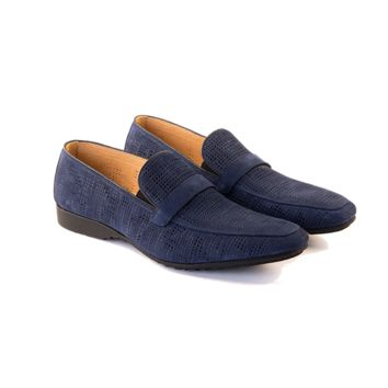 Fedele - Slip On Loafer In Cobalt Blue Woven Calf Leather