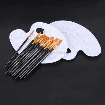 14pcs Artist Paint Brushes Set Acrylic Oil Watercolor Painting Craft Art Palette