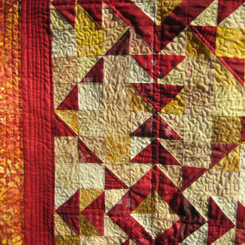 """Lap Quilt or Throw in Red,Yellow and Orange 46""""X46"""""""