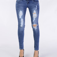 Ripped Up Skinny Jeans - Bottoms - Clothing