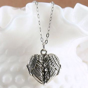 Angel Wings Heart Locket Necklace - Blank Inside