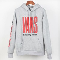 Vans Autumn And Winter New Fashion Bust And Sleeve Letter Print Women Men Hooded Long Sleeve Sweater Gray