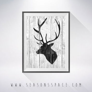 Deer Head 2 art illustration, Deer painting, Nautical, Wall art,Rustic Wood art,Animal print,Home Decor,Animal silhouette, Deer silhouette