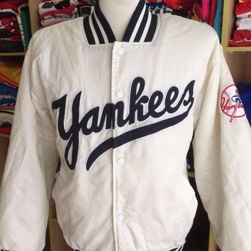 Vintage Jacket New York Yankees 90s (M) White Majestic Satin Varsity Bomber Baseball