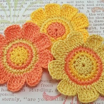 Flower Appliques Crocheted in Orange and Yellows by FineThreads