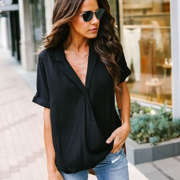 Your Classic Drape Front Collared Blouse - Black