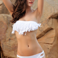 Fringed Halterneck Bandeau Bikini Set in White