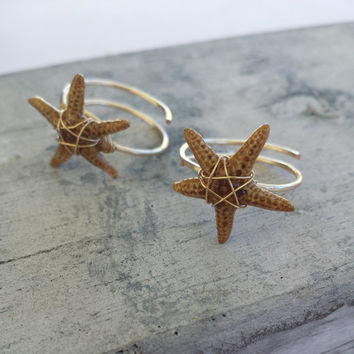 Real Starfish Adjustable Ring (Plated Gold or Silver) Mermaid Beachy Jewelry, Ocean Tumbled, Ocean Inspired, Handmade in Hawaii with Aloha