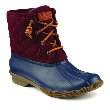 Women's Quilted Saltwater Duck Boot in Maroon/Navy by Sperry
