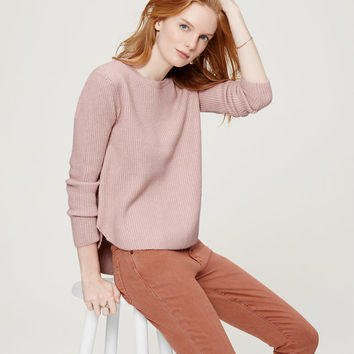 Ribbed Shirttail Sweater | LOFT