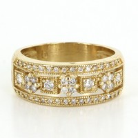 Vintage Square Flower Diamond 14 Karat Yellow Gold Band Ring Estate Fine Pre Owned
