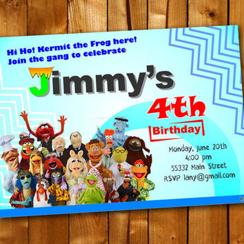 Muppets 2 Most Wanted, Birthday Invitation, Birthday Party for little boy and little girl
