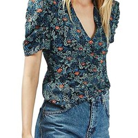 Topshop Floral Ruched Sleeve Top | Nordstrom