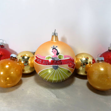 Vintage Christmas Bulbs Christmas Ornaments Large Glass Balls Shiny Brite Ornaments Red and Gold Holiday Decor Mercury Glass Ornaments