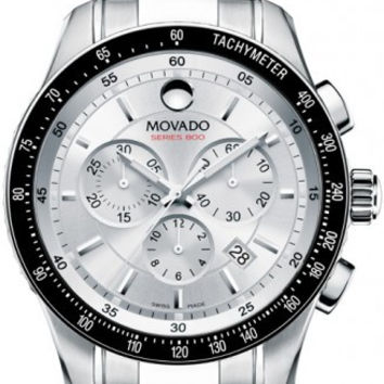 Movado Series 800 Men's Silver Dial Black Bezel Chronograph Stainless Steel 42mm Watch 2600095