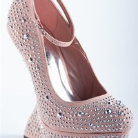 Swayed Back Wedges with Ankle Strap - Blush from Evening & Club at Lucky 21 Lucky 21